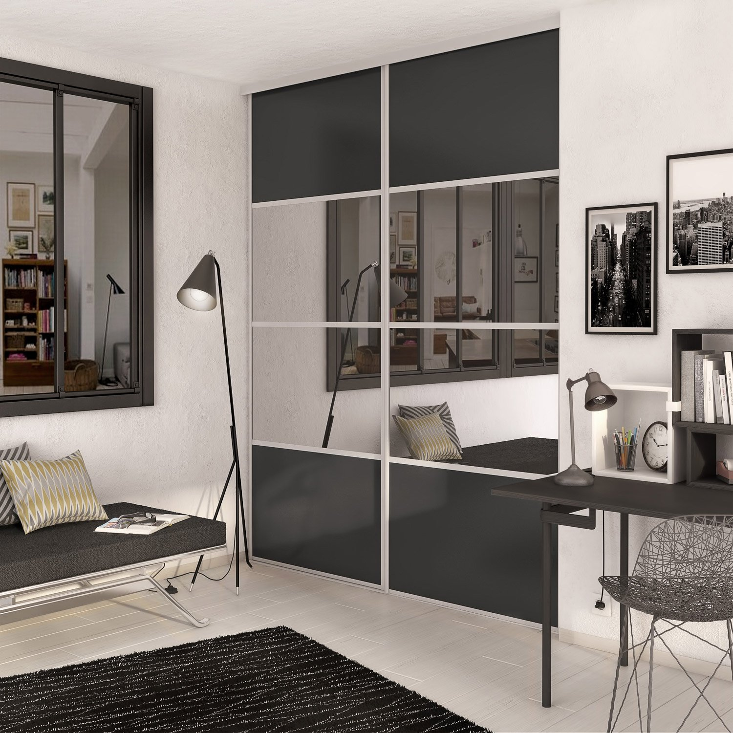 latest porte placard chambre with porte de placard sur mesure lapeyre. Black Bedroom Furniture Sets. Home Design Ideas